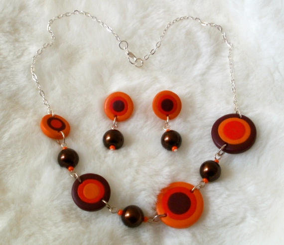 After - orange polymer clay disc necklace