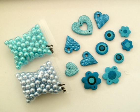 Glass beads and polymer clay
