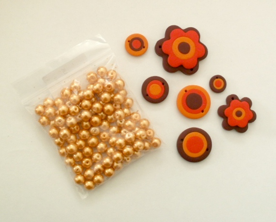 Orange mix - glass beads and polymer clay